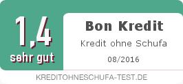 Testsiegel: Bon Kredit Kredit ohne Schufa
