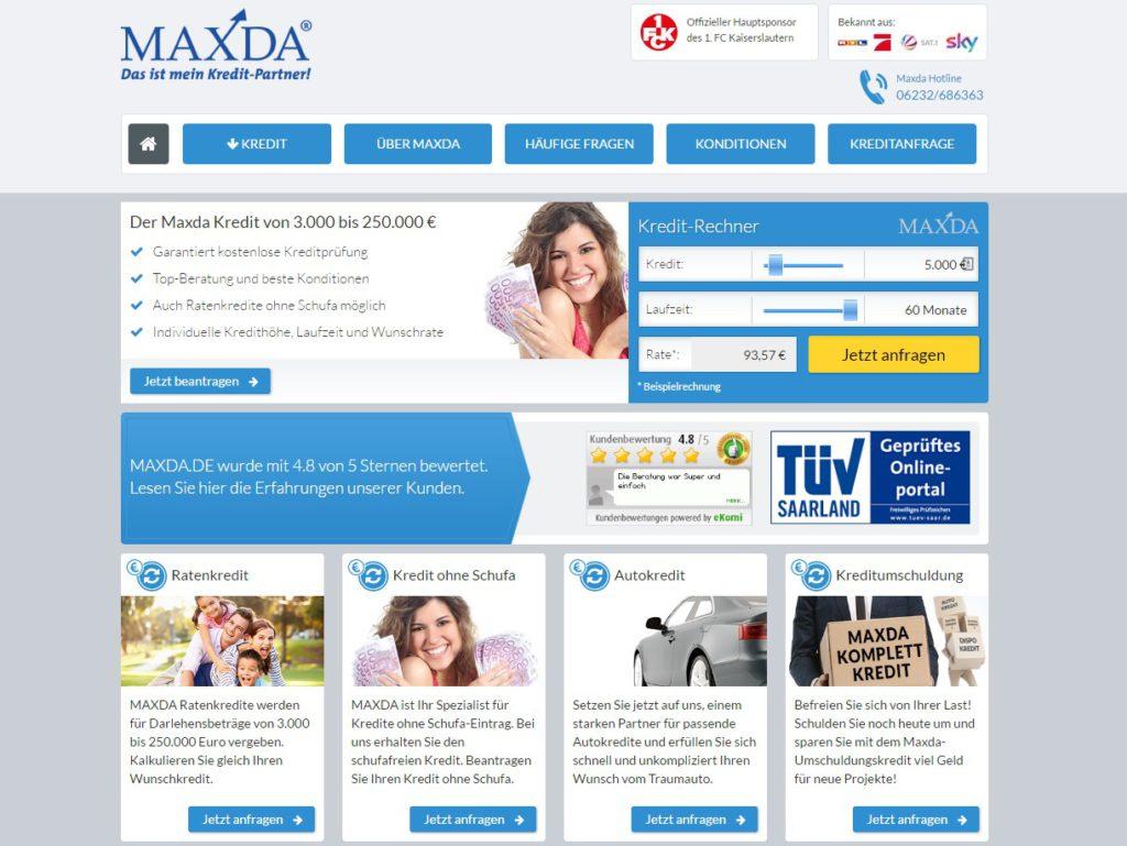 Die Webseite von Maxda
